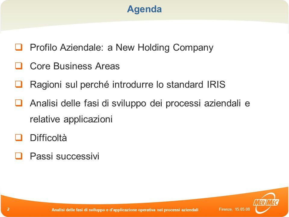 Firenze, 15.05.08 Analisi delle fasi di sviluppo e dapplicazione operativa nei processi aziendali 2 Agenda Profilo Aziendale: a New Holding Company Co