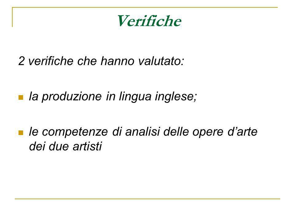 Verifiche 2 verifiche che hanno valutato: la produzione in lingua inglese; le competenze di analisi delle opere darte dei due artisti