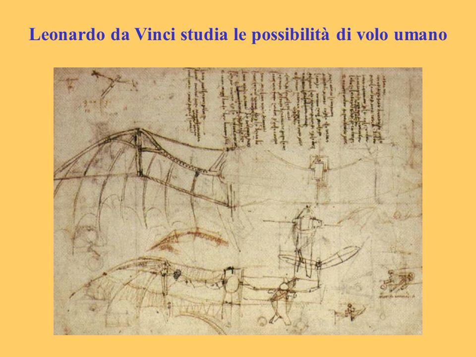 Leonardo da Vinci studia le possibilità di volo umano