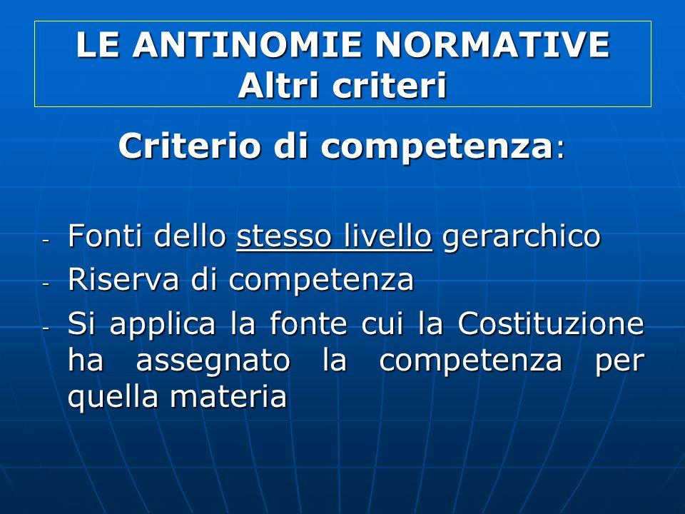 LE ANTINOMIE NORMATIVE Altri criteri Criterio di competenza : - Fonti dello stesso livello gerarchico - Riserva di competenza - Si applica la fonte cu