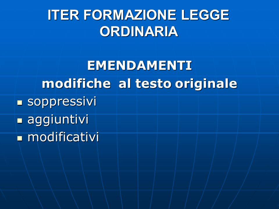 ITER FORMAZIONE LEGGE ORDINARIA EMENDAMENTI modifiche al testo originale soppressivi soppressivi aggiuntivi aggiuntivi modificativi modificativi