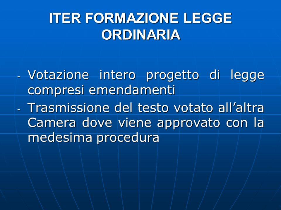 ITER FORMAZIONE LEGGE ORDINARIA - Votazione intero progetto di legge compresi emendamenti - Trasmissione del testo votato allaltra Camera dove viene a
