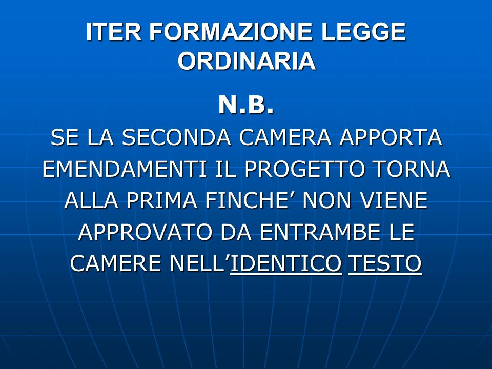 ITER FORMAZIONE LEGGE ORDINARIA N.B. SE LA SECONDA CAMERA APPORTA EMENDAMENTI IL PROGETTO TORNA ALLA PRIMA FINCHE NON VIENE APPROVATO DA ENTRAMBE LE C
