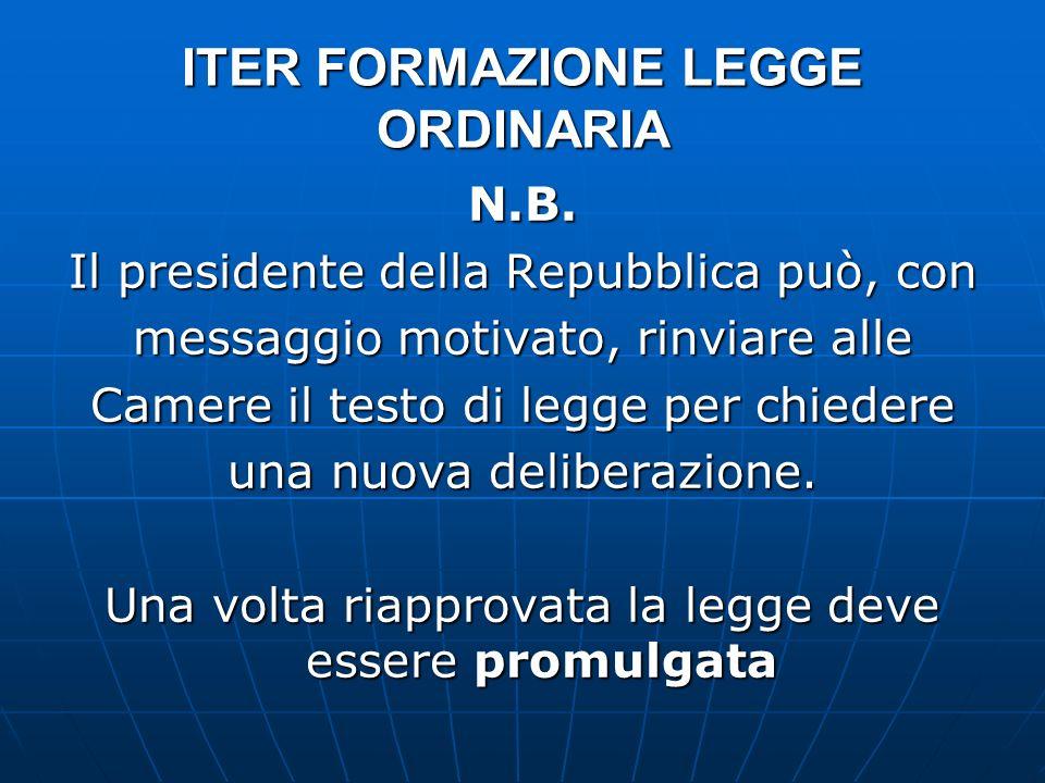 ITER FORMAZIONE LEGGE ORDINARIA N.B. Il presidente della Repubblica può, con messaggio motivato, rinviare alle Camere il testo di legge per chiedere u