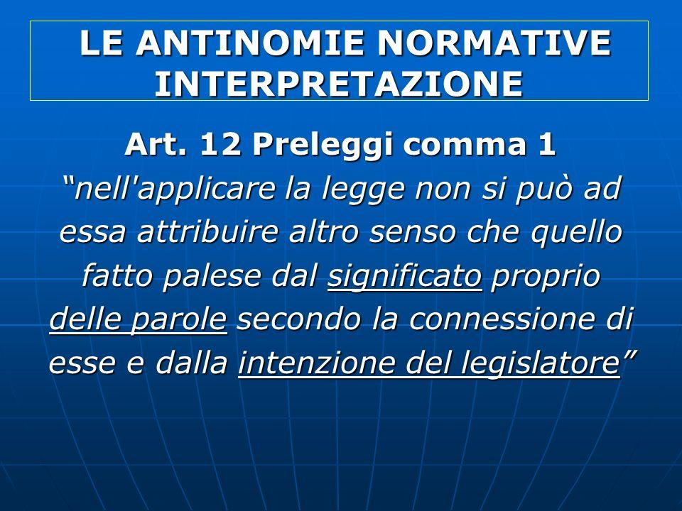 LE ANTINOMIE NORMATIVE INTERPRETAZIONE LE ANTINOMIE NORMATIVE INTERPRETAZIONE Art. 12 Preleggi comma 1 nell'applicare la legge non si può ad essa attr