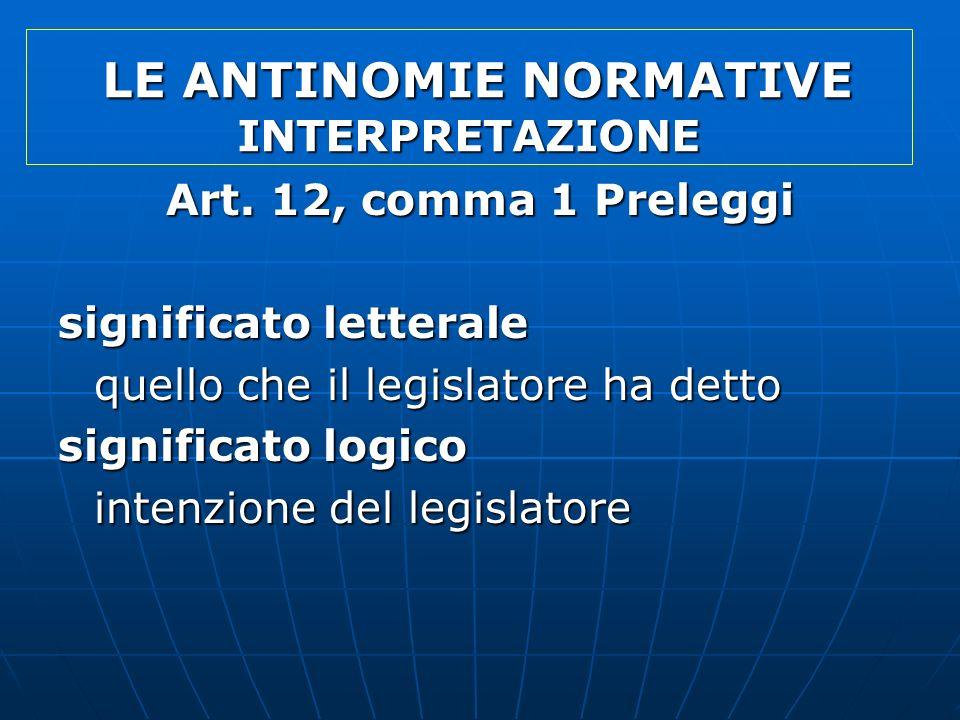 LE ANTINOMIE NORMATIVE INTERPRETAZIONE LE ANTINOMIE NORMATIVE INTERPRETAZIONE Art. 12, comma 1 Preleggi significato letterale quello che il legislator