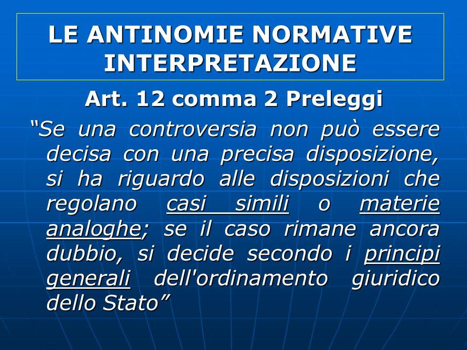 LE ANTINOMIE NORMATIVE INTERPRETAZIONE Art. 12 comma 2 Preleggi Se una controversia non può essere decisa con una precisa disposizione, si ha riguardo
