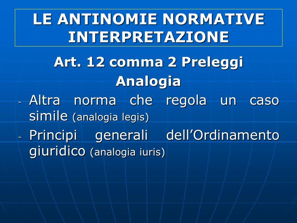 LE ANTINOMIE NORMATIVE INTERPRETAZIONE Art. 12 comma 2 Preleggi Analogia - Altra norma che regola un caso simile (analogia legis) - Principi generali