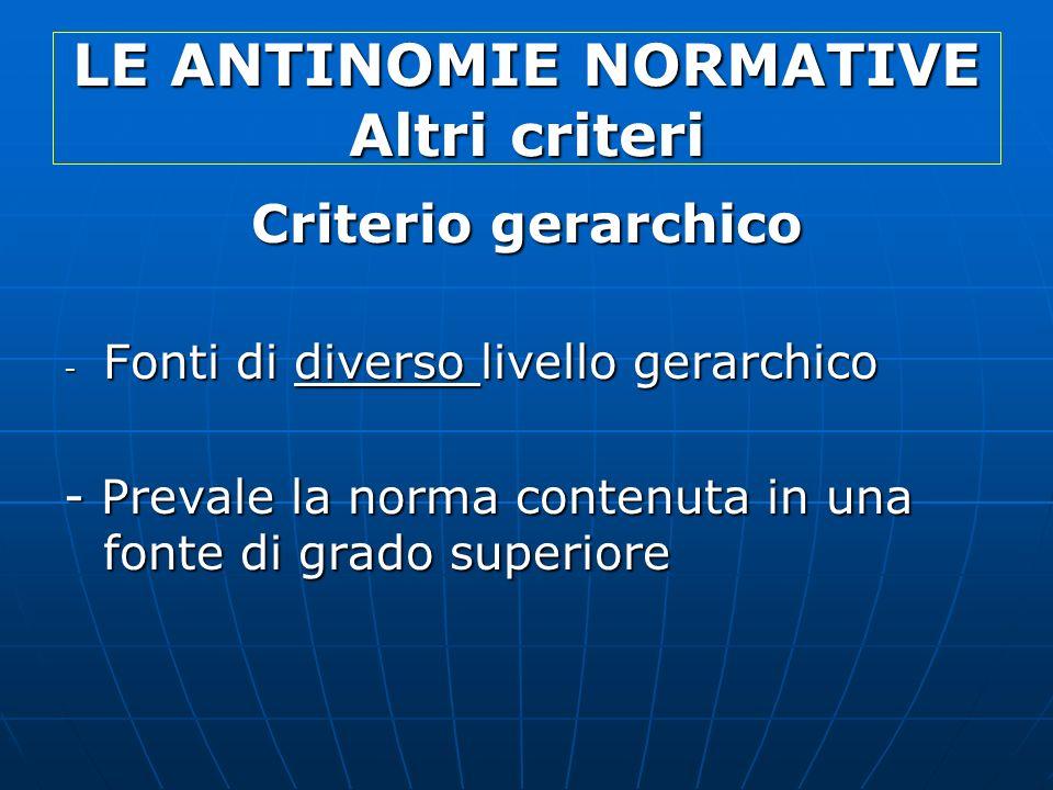 LE ANTINOMIE NORMATIVE Altri criteri Criterio gerarchico - Fonti di diverso livello gerarchico - Prevale la norma contenuta in una fonte di grado supe