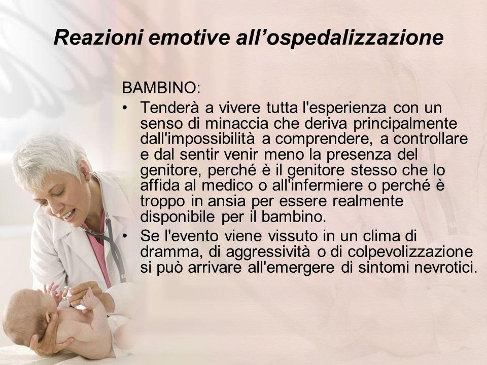 Reazioni emotive allospedalizzazione BAMBINO: Tenderà a vivere tutta l'esperienza con un senso di minaccia che deriva principalmente dall'impossibilit