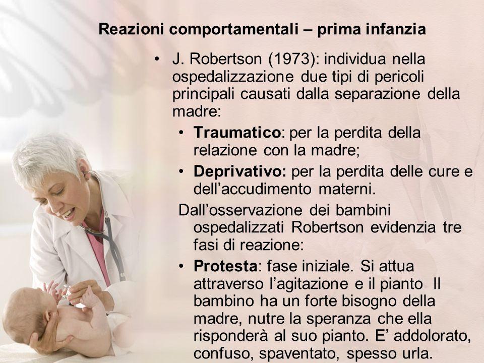 Reazioni comportamentali – prima infanzia J. Robertson (1973): individua nella ospedalizzazione due tipi di pericoli principali causati dalla separazi