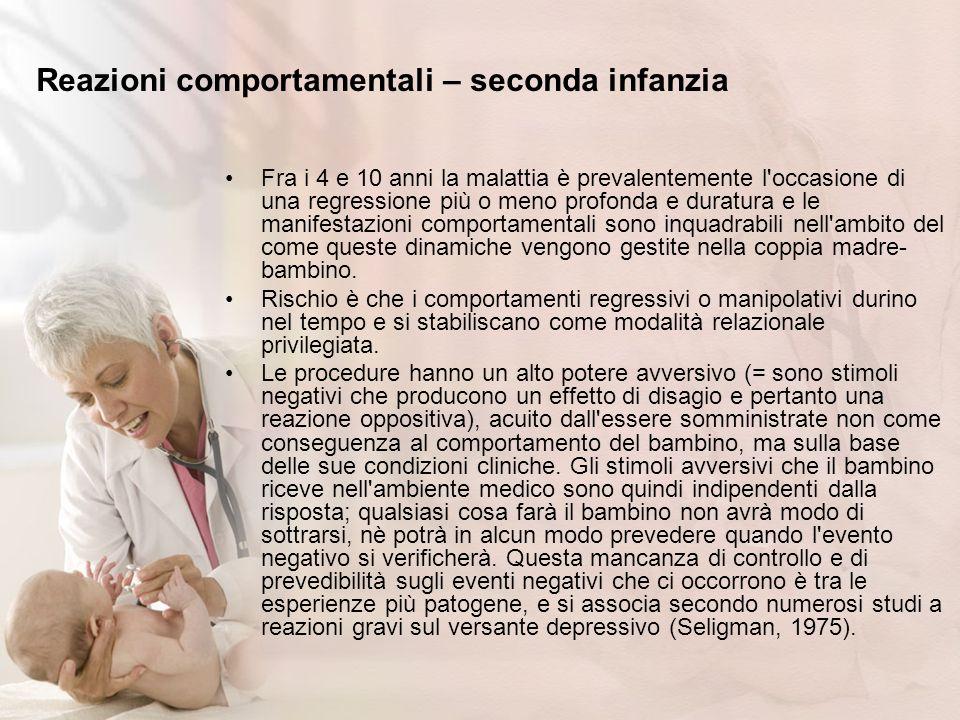 Reazioni comportamentali – seconda infanzia Fra i 4 e 10 anni la malattia è prevalentemente l'occasione di una regressione più o meno profonda e durat