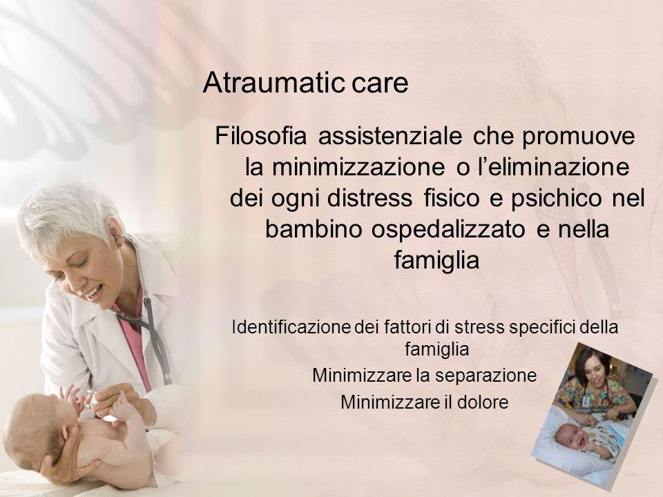 Atraumatic care Filosofia assistenziale che promuove la minimizzazione o leliminazione dei ogni distress fisico e psichico nel bambino ospedalizzato e
