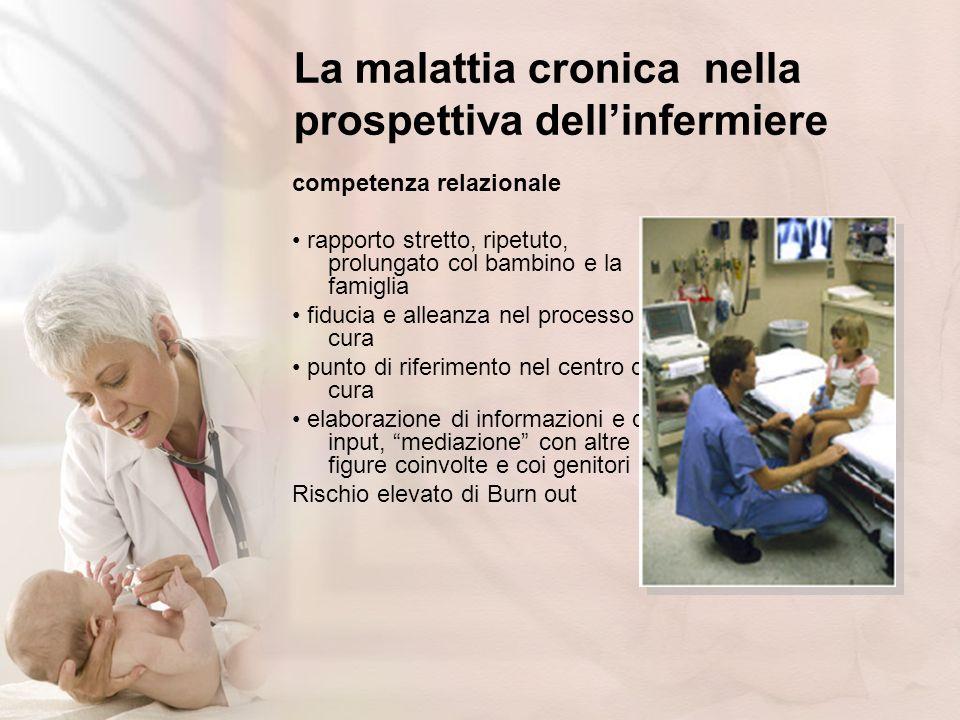La malattia cronica nella prospettiva dellinfermiere competenza relazionale rapporto stretto, ripetuto, prolungato col bambino e la famiglia fiducia e