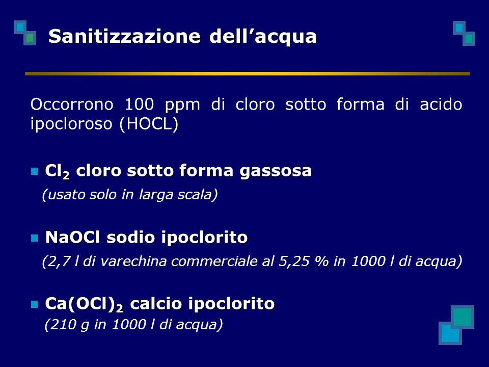 Occorrono 100 ppm di cloro sotto forma di acido ipocloroso (HOCL) Cl 2 cloro sotto forma gassosa (usato solo in larga scala) NaOCl sodio ipoclorito (2,7 l di varechina commerciale al 5,25 % in 1000 l di acqua) Ca(OCl) 2 calcio ipoclorito (210 g in 1000 l di acqua) Sanitizzazione dellacqua