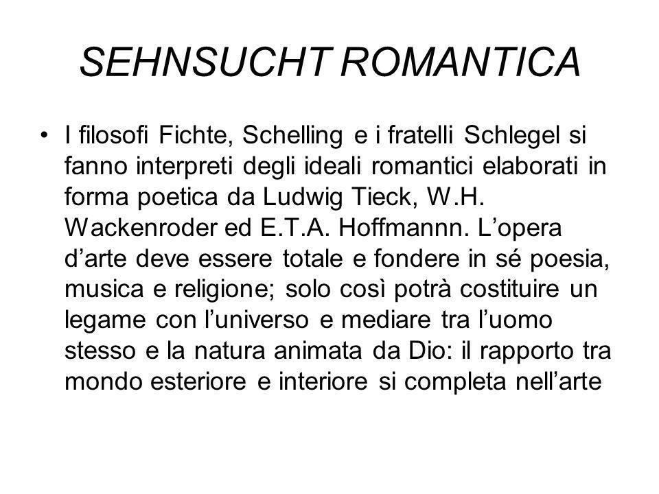 SEHNSUCHT ROMANTICA I filosofi Fichte, Schelling e i fratelli Schlegel si fanno interpreti degli ideali romantici elaborati in forma poetica da Ludwig