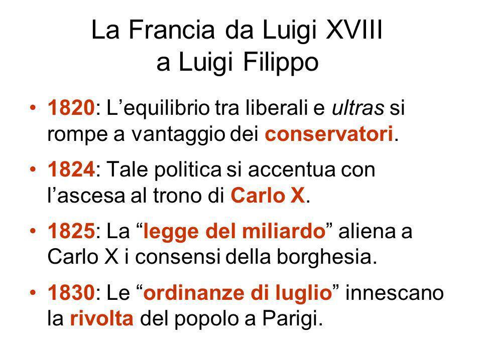 La Francia da Luigi XVIII a Luigi Filippo 1820: Lequilibrio tra liberali e ultras si rompe a vantaggio dei conservatori.