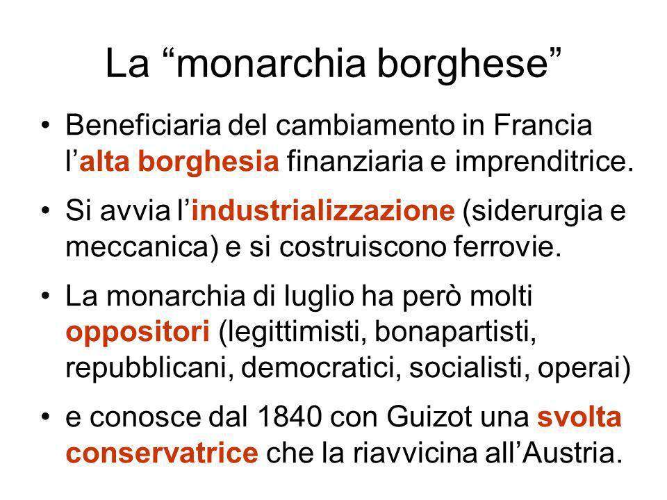La monarchia borghese Beneficiaria del cambiamento in Francia lalta borghesia finanziaria e imprenditrice.