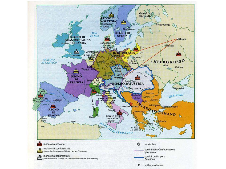 LA RESTAURAZIONE Principio di equilibrioPrincipio di legittimità Inghilterra: Ceylon e Capo di Buona Speranza Austria Francia Russia e Prussia (Colonia, Treviri, Ruhr): la politica dei compensi territoriali