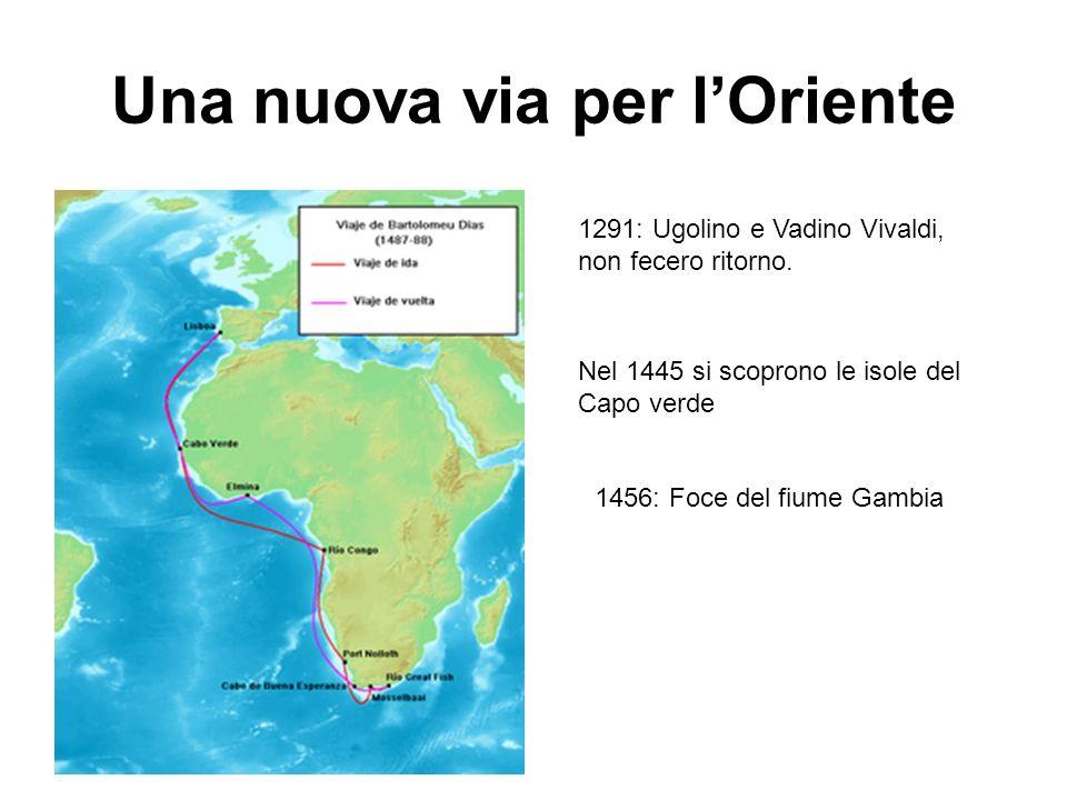 Una nuova via per lOriente 1291: Ugolino e Vadino Vivaldi, non fecero ritorno. Nel 1445 si scoprono le isole del Capo verde 1456: Foce del fiume Gambi
