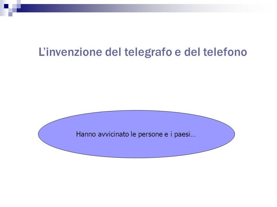 Linvenzione del telegrafo e del telefono Hanno avvicinato le persone e i paesi…