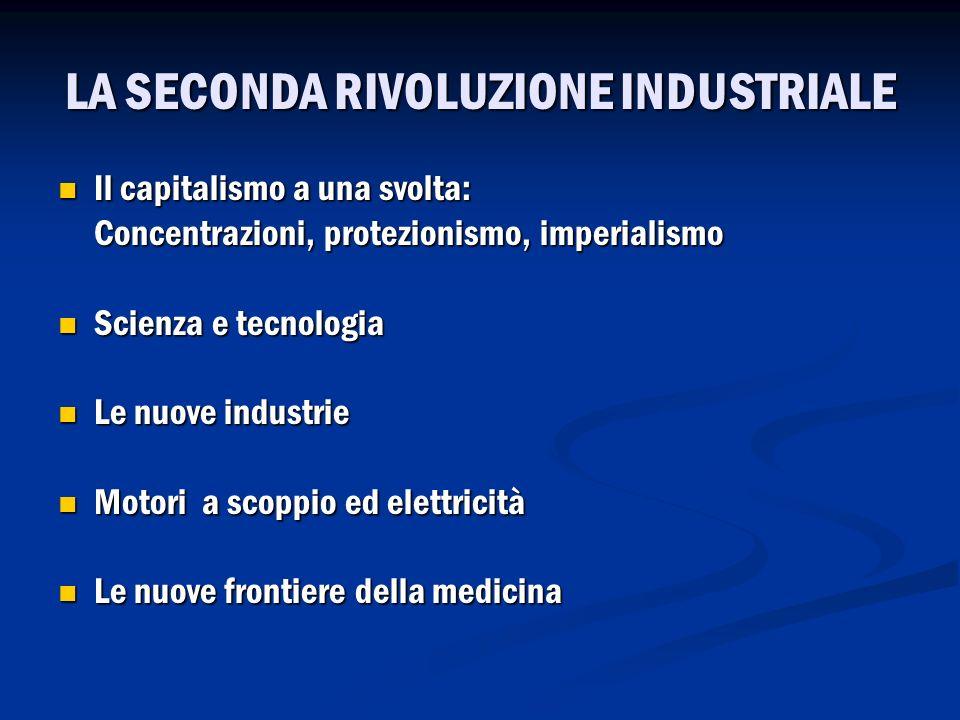 LA SECONDA RIVOLUZIONE INDUSTRIALE Il capitalismo a una svolta: Il capitalismo a una svolta: Concentrazioni, protezionismo, imperialismo Scienza e tec