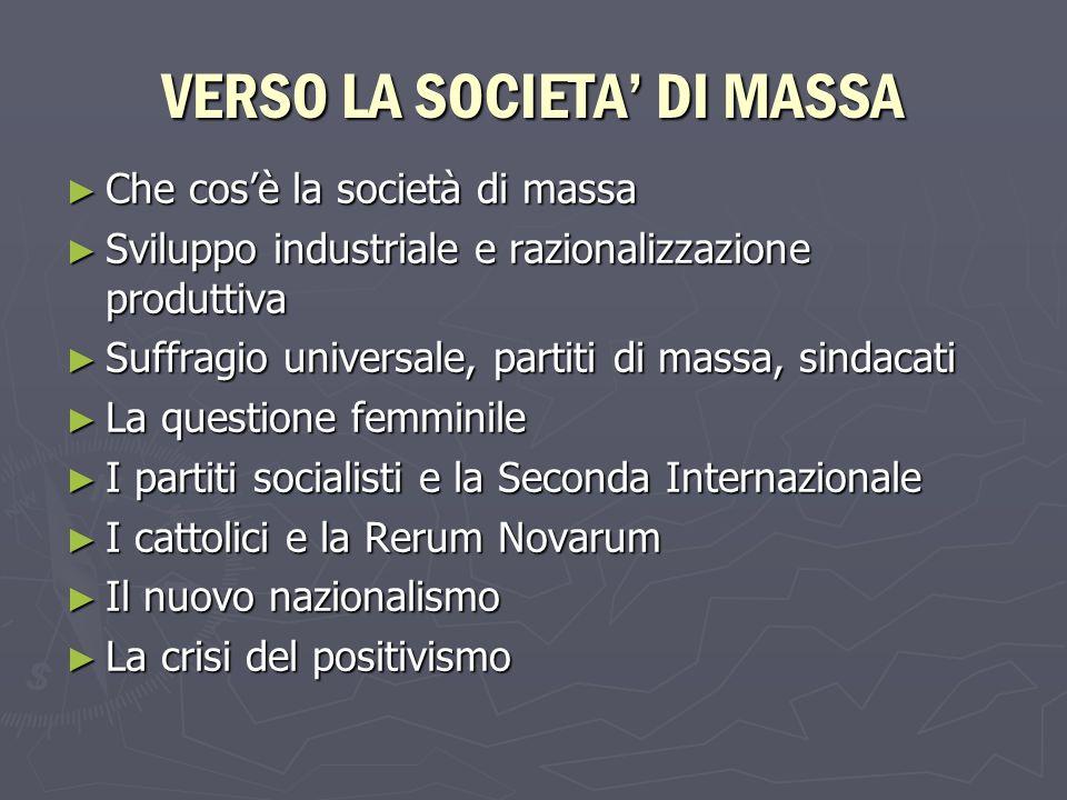 VERSO LA SOCIETA DI MASSA Che cosè la società di massa Che cosè la società di massa Sviluppo industriale e razionalizzazione produttiva Sviluppo indus