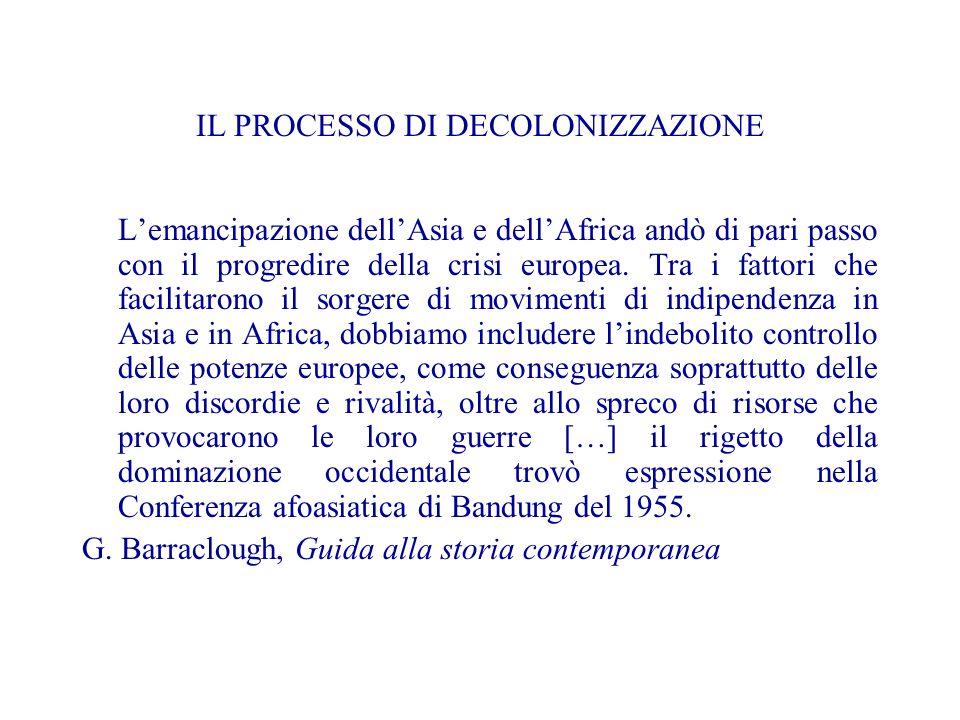IL PROCESSO DI DECOLONIZZAZIONE Lemancipazione dellAsia e dellAfrica andò di pari passo con il progredire della crisi europea.