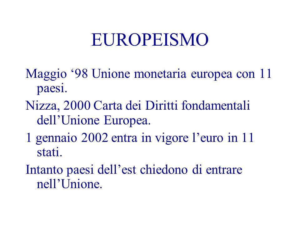 EUROPEISMO Maggio 98 Unione monetaria europea con 11 paesi.