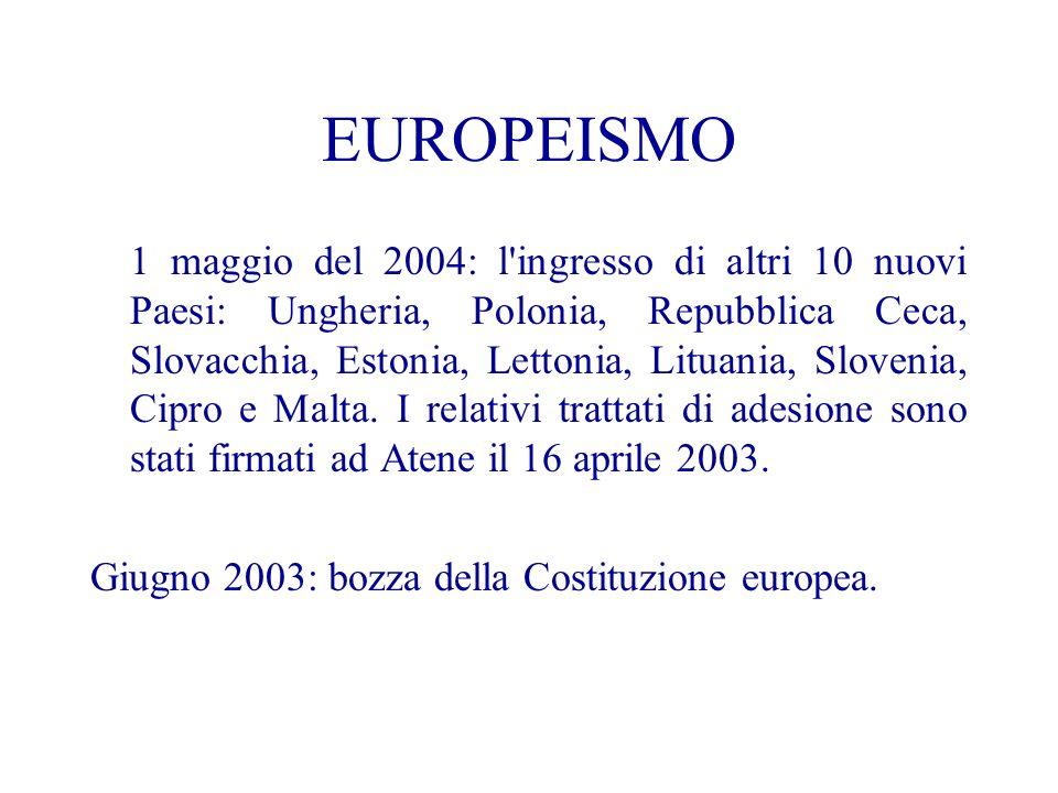 EUROPEISMO 1 maggio del 2004: l ingresso di altri 10 nuovi Paesi: Ungheria, Polonia, Repubblica Ceca, Slovacchia, Estonia, Lettonia, Lituania, Slovenia, Cipro e Malta.