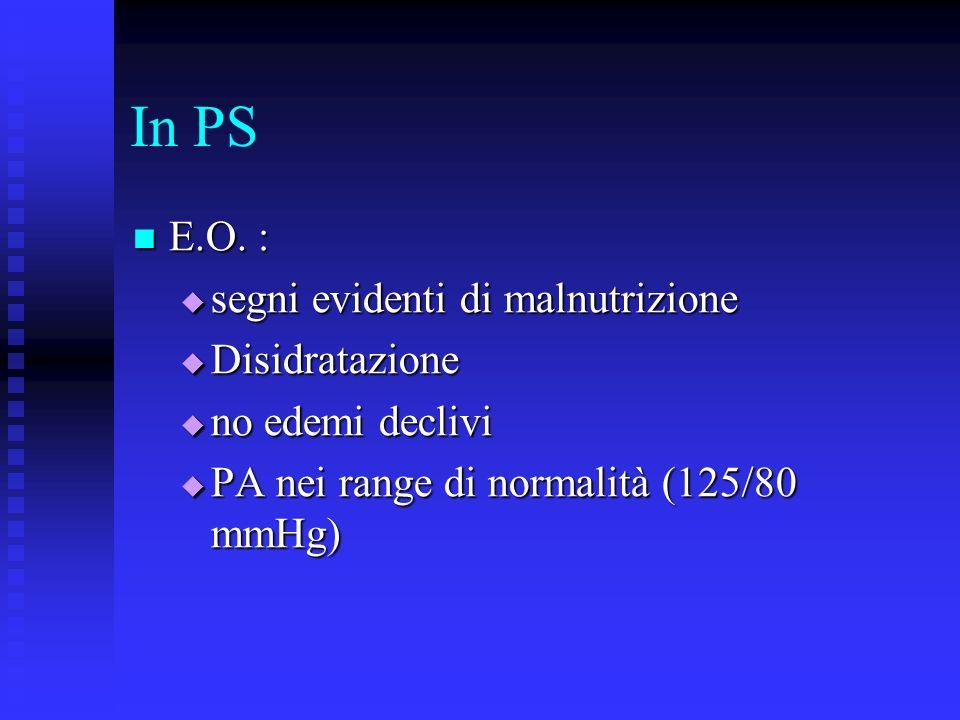 In PS Esami di laboratorio: Esami di laboratorio: Proteine tot: 38.6 g/l Proteine tot: 38.6 g/l Albumina: 16.2 g/l Albumina: 16.2 g/l Calcemia: 8 mg/dl Calcemia: 8 mg/dl Colesterolo tot: 147 mg/dl Colesterolo tot: 147 mg/dl Trigliceridi: 88 mg/dl Trigliceridi: 88 mg/dl Restanti esami ematochimici nella norma Restanti esami ematochimici nella norma RICOVERO IN NEFROLOGIA