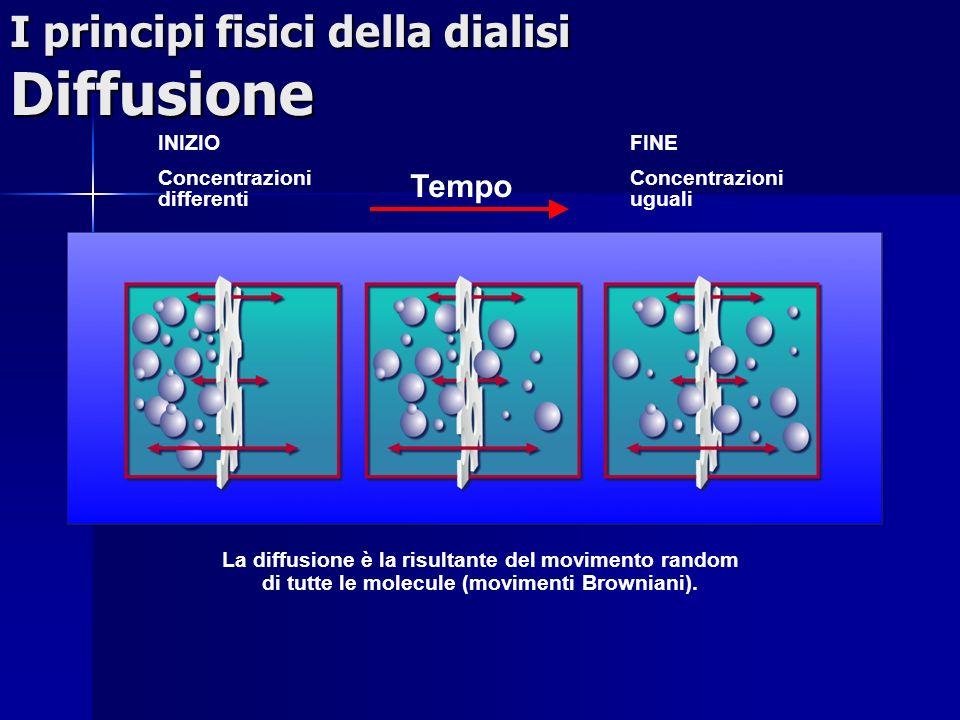 I principi fisici della dialisi Diffusione INIZIO Concentrazioni differenti FINE Concentrazioni uguali La diffusione è la risultante del movimento ran