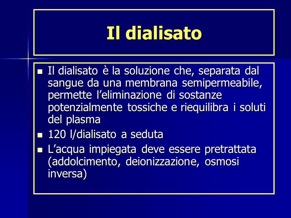 Il dialisato Il dialisato è la soluzione che, separata dal sangue da una membrana semipermeabile, permette leliminazione di sostanze potenzialmente to