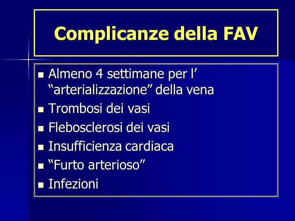 Complicanze della FAV Almeno 4 settimane per l arterializzazione della vena Almeno 4 settimane per l arterializzazione della vena Trombosi dei vasi Tr