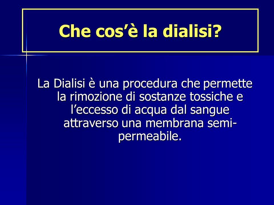 Che cosè la dialisi? La Dialisi è una procedura che permette la rimozione di sostanze tossiche e leccesso di acqua dal sangue attraverso una membrana