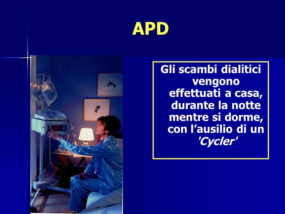 APD Gli scambi dialitici vengono effettuati a casa, durante la notte mentre si dorme, con lausilio di un 'Cycler'