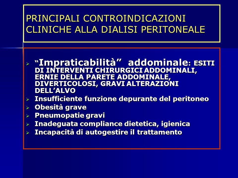 PRINCIPALI CONTROINDICAZIONI CLINICHE ALLA DIALISI PERITONEALE Impraticabilità addominale : ESITI DI INTERVENTI CHIRURGICI ADDOMINALI, ERNIE DELLA PAR