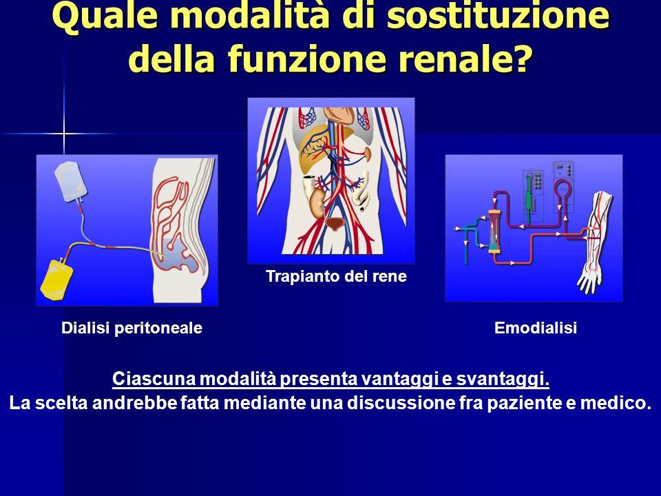 Quale modalità di sostituzione della funzione renale? Ciascuna modalità presenta vantaggi e svantaggi. La scelta andrebbe fatta mediante una discussio