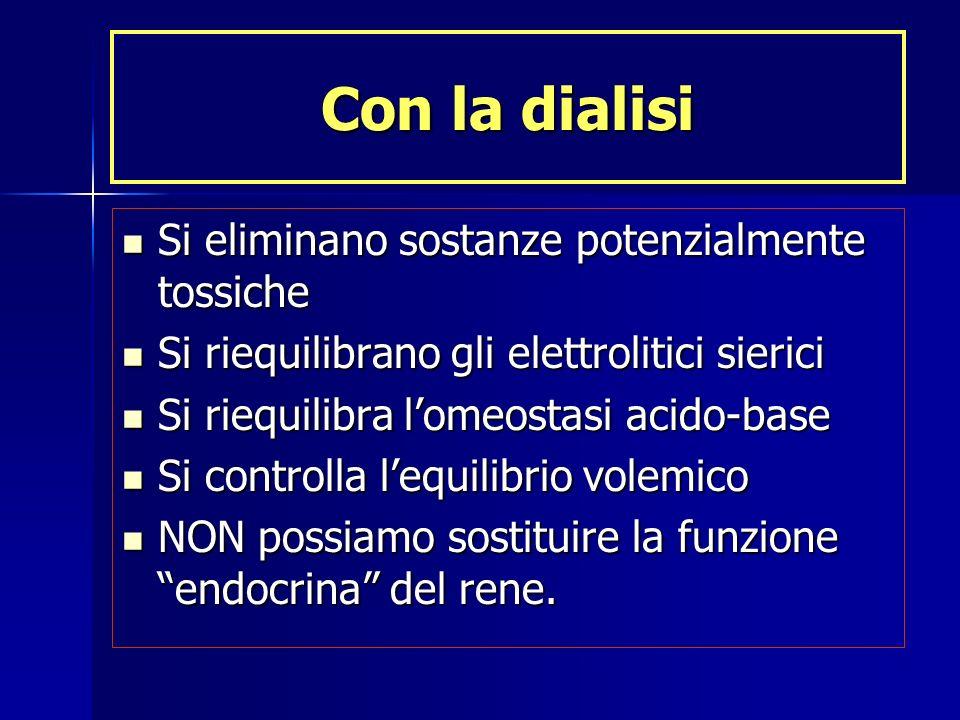 Con la dialisi Si eliminano sostanze potenzialmente tossiche Si eliminano sostanze potenzialmente tossiche Si riequilibrano gli elettrolitici sierici