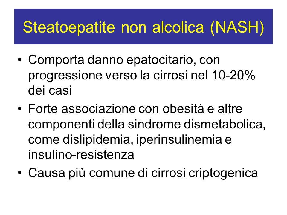 Steatoepatite non alcolica (NASH) Comporta danno epatocitario, con progressione verso la cirrosi nel 10-20% dei casi Forte associazione con obesità e