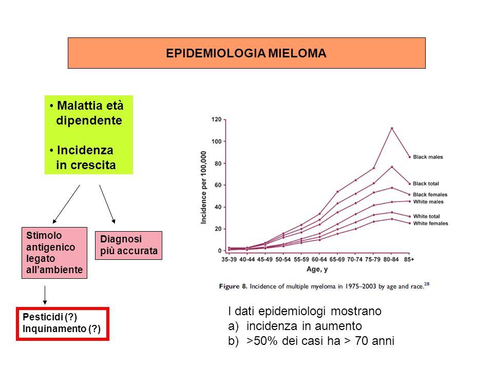 Sintomi Dolore osseo Lesioni litiche Fratture patologiche Anemia / Cachessia, Difetti pst e coagulazione Ipercalcemia e/o rene da mieloma Ipercalcemia, Insufficienza renale Calo Ig normali, riduzione CD4 Astenia emorragie Sintomi SNC Poliuria/oliguria/anuria Nausea e vomito Infezioni Paraplegia Compressione midollo spinale Iperviscosità o ipercalcemia Sintomi SNP Compressione nervi, amiloidosi, P olineuropathy, sensitive O steosclerosy E ndocrinopatia M component S kin changes Genesi POEMS syndrome (cytokines: IL2, TNF, IL6)