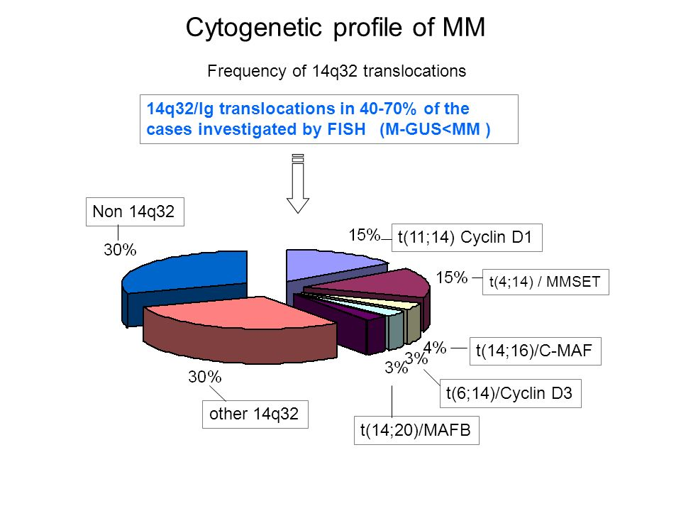 Cytogenetic profile of MM other 14q32 Non 14q32 t(11;14) Cyclin D1 t(4;14) / MMSET t(14;16)/C-MAF t(6;14)/Cyclin D3 t(14;20)/MAFB Frequency of 14q32 t