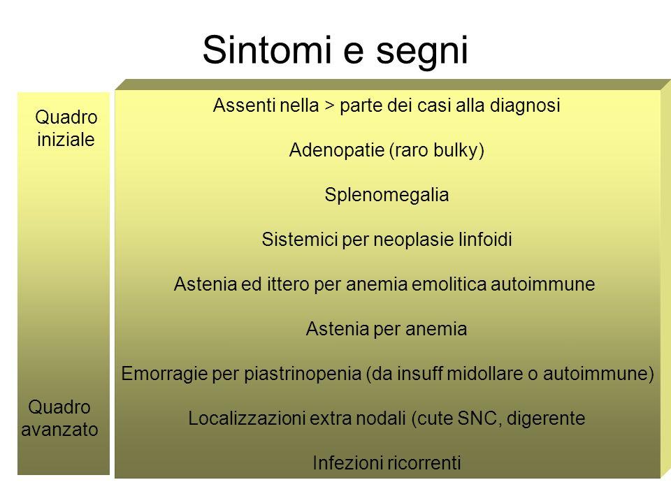 Sintomi e segni Assenti nella > parte dei casi alla diagnosi Adenopatie (raro bulky) Splenomegalia Sistemici per neoplasie linfoidi Astenia ed ittero per anemia emolitica autoimmune Astenia per anemia Emorragie per piastrinopenia (da insuff midollare o autoimmune) Localizzazioni extra nodali (cute SNC, digerente Infezioni ricorrenti Quadro iniziale Quadro avanzato