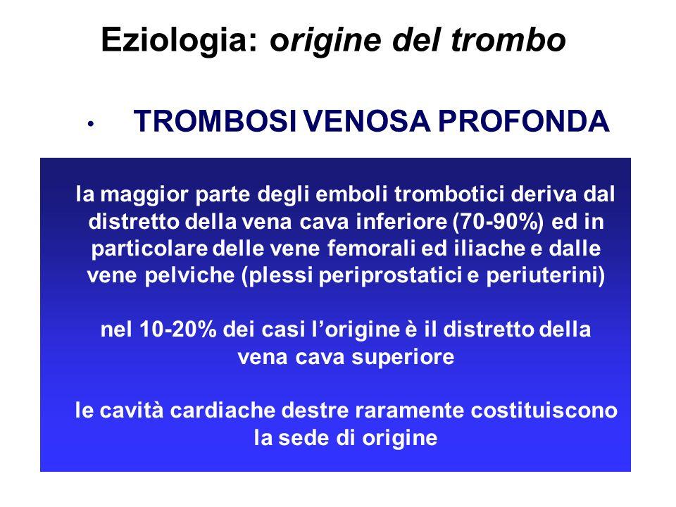 Eziologia: origine del trombo TROMBOSI VENOSA PROFONDA la maggior parte degli emboli trombotici deriva dal distretto della vena cava inferiore (70-90%
