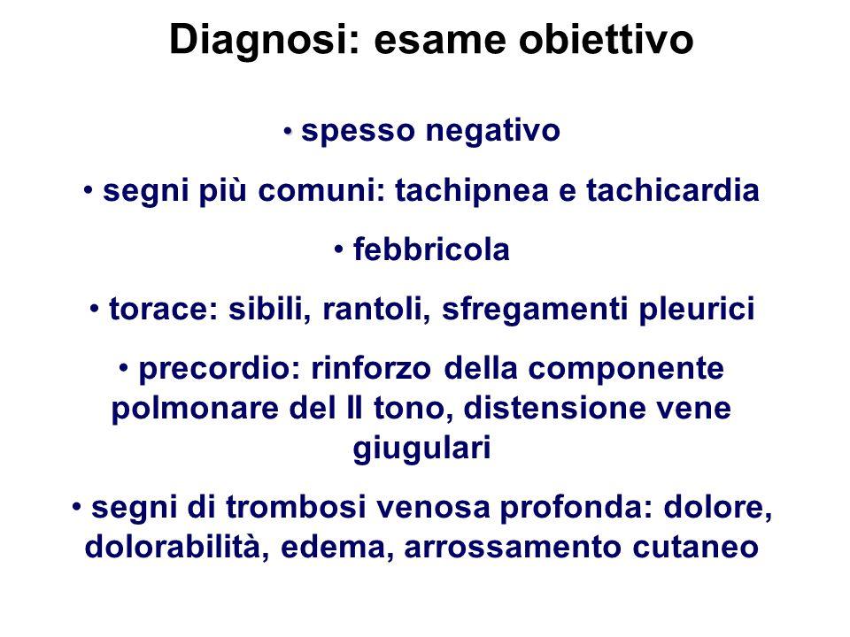 Diagnosi: esame obiettivo spesso negativo segni più comuni: tachipnea e tachicardia febbricola torace: sibili, rantoli, sfregamenti pleurici precordio