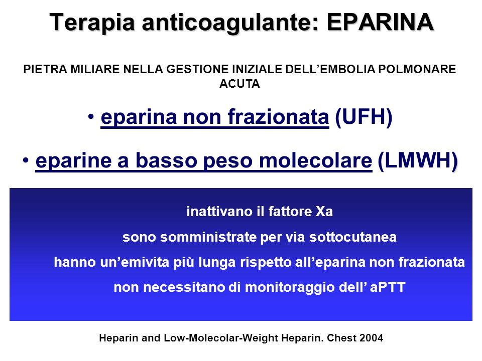 Terapia anticoagulante: EPARINA PIETRA MILIARE NELLA GESTIONE INIZIALE DELLEMBOLIA POLMONARE ACUTA eparina non frazionata (UFH) ) eparine a basso peso
