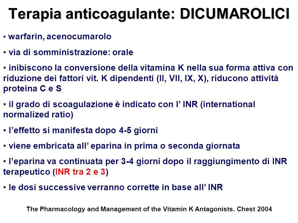 Terapia anticoagulante: DICUMAROLICI warfarin, acenocumarolo via di somministrazione: orale inibiscono la conversione della vitamina K nella sua forma