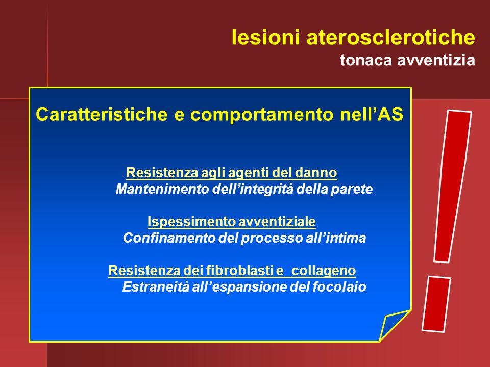 Caratteristiche e comportamento nellAS Resistenza agli agenti del danno Mantenimento dellintegrità della parete Ispessimento avventiziale Confinamento