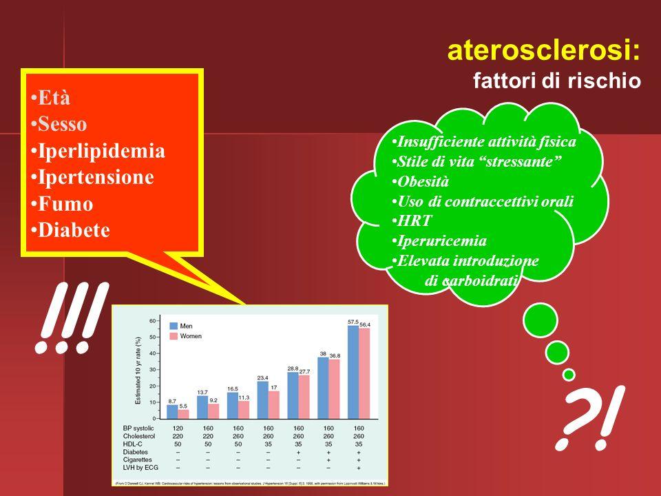 Età Sesso Iperlipidemia Ipertensione Fumo Diabete Insufficiente attività fisica Stile di vita stressante Obesità Uso di contraccettivi orali HRT Iperu