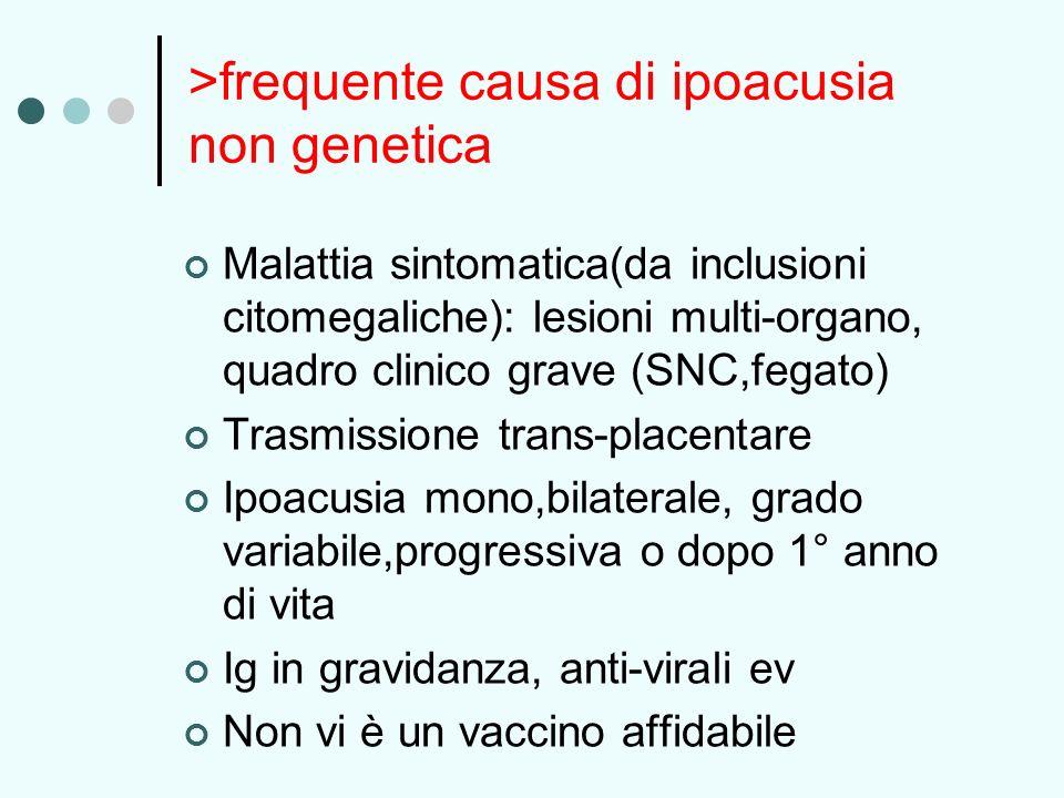 >frequente causa di ipoacusia non genetica Malattia sintomatica(da inclusioni citomegaliche): lesioni multi-organo, quadro clinico grave (SNC,fegato)